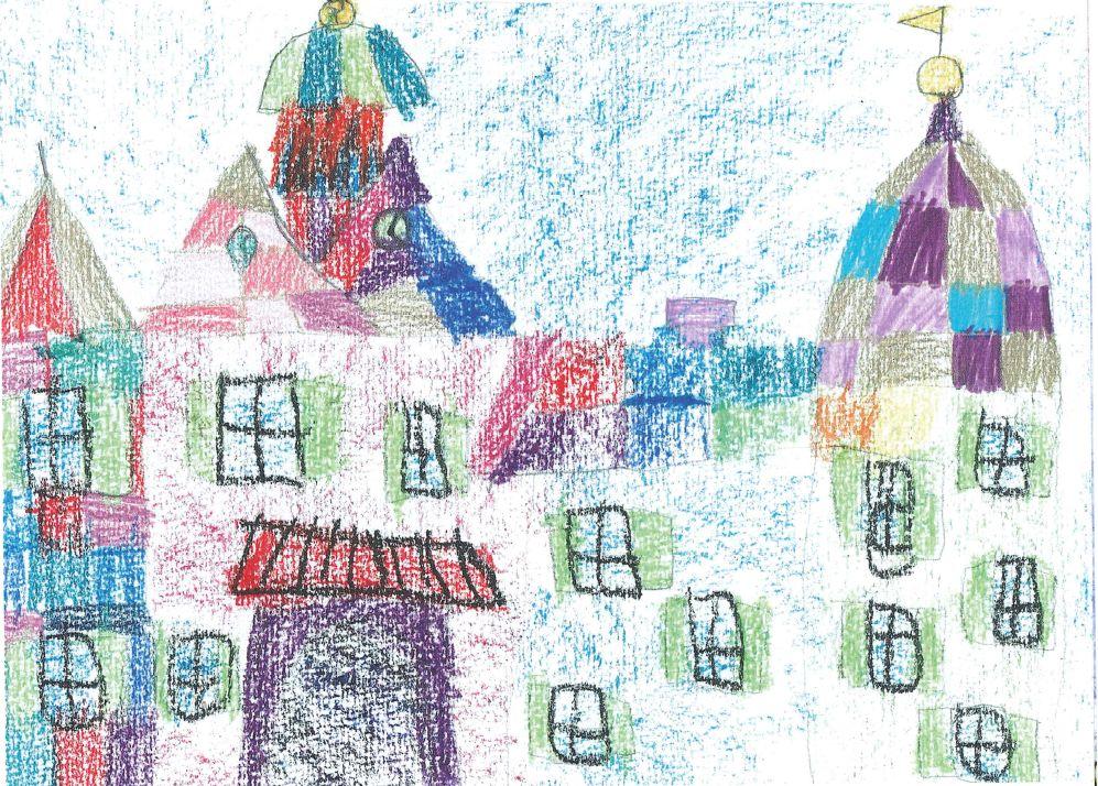 Das Schloss Eutin ist das Wahrzeichen der Kreisstadt. Lilli Iske (9) hat das Motiv sehr eigenwillig und mit viel Kreativität umgesetzt.