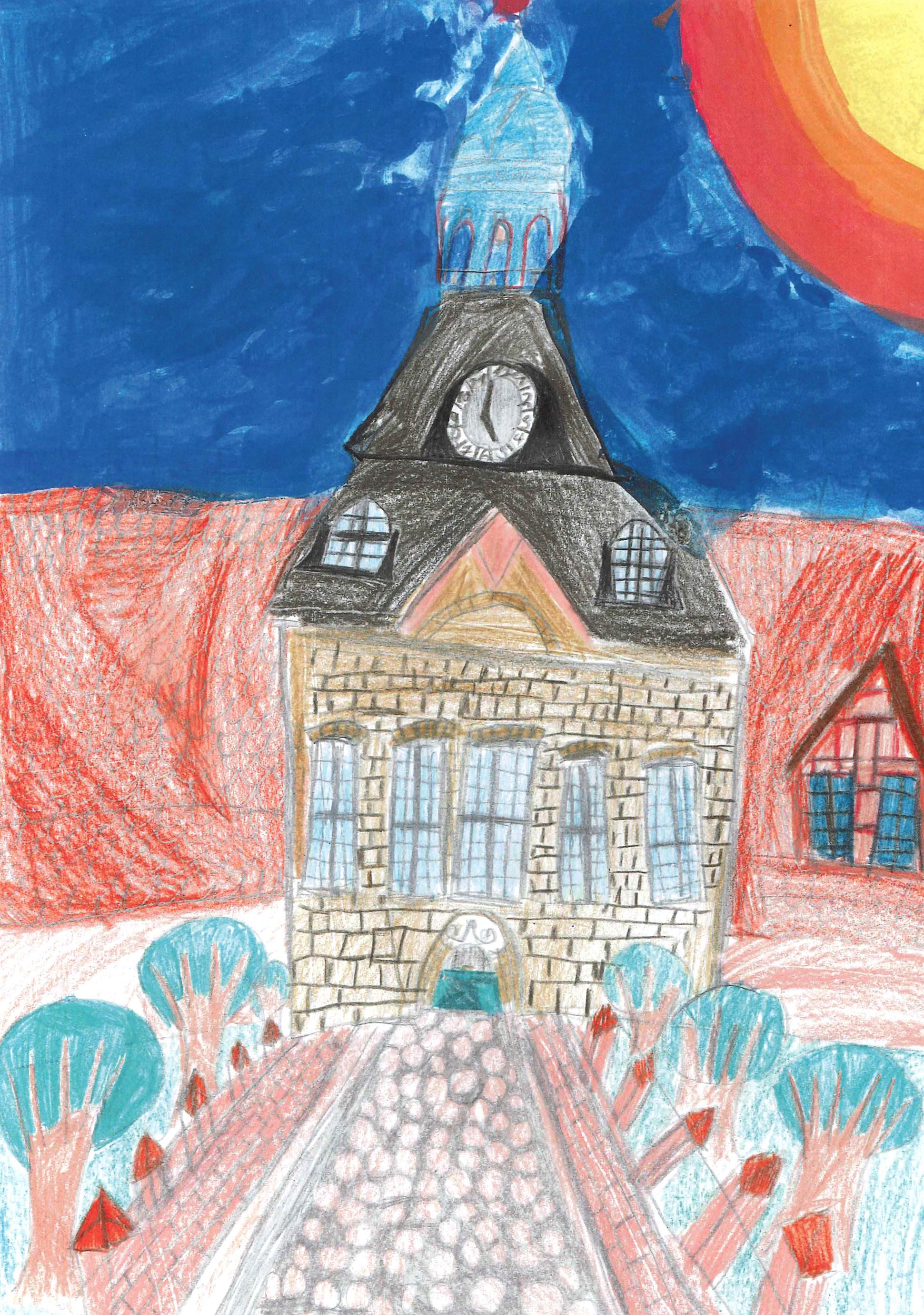 Smilla Koch (9) findet das Gut Hasselburg bei Neustadt wunderschön. Das schwungvolle Torhaus hat sie gekonnt und bunt gezeichnet.
